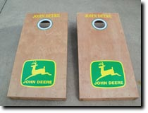 Cornhole Boards by Erich Bobbie featuring graphics by RG Graphix.