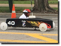 Bruce Lancaster's Soap Box Derby Stock Car featuring full vinyl wrap graphics by RG Graphix.